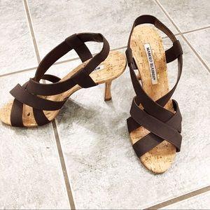 """Manolo Blahnik brown & cork 3.5"""" strappy sandals 6"""